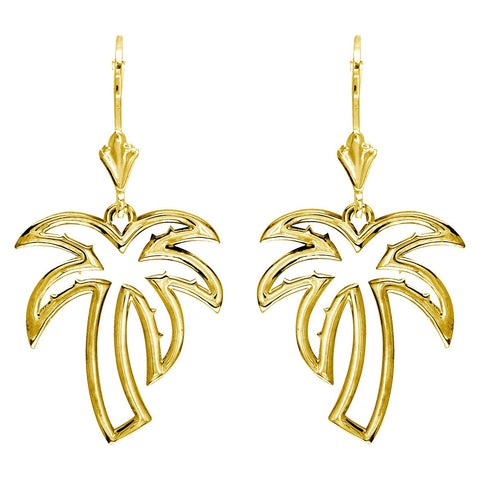 Open Palm Tree Leverback Earrings in 14K Yellow Gold