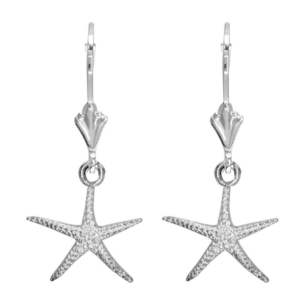 Mini Thin Starfish Earrings in 14K White Gold