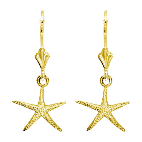 Mini Thin Starfish Earrings in 14K Yellow Gold