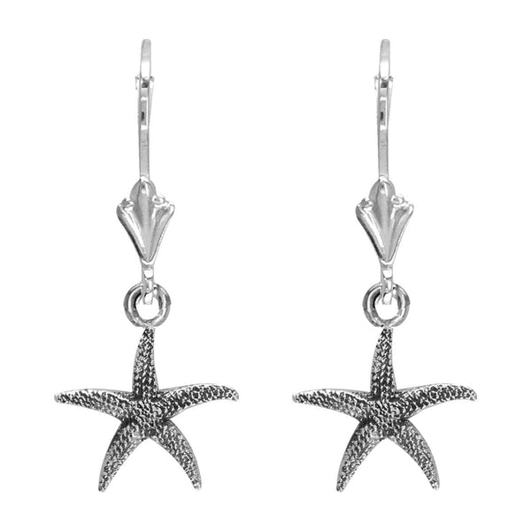Mini Common Starfish Earrings in Sterling Silver with Black
