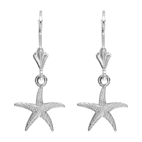 Mini Common Starfish Earrings in 14K White Gold