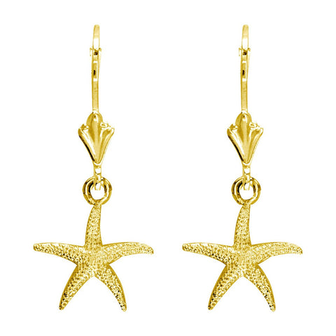 Mini Common Starfish Earrings in 14K Yellow Gold