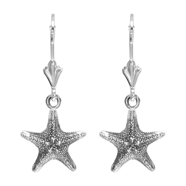 Mini Cushion Sea Star Earrings in Sterling Silver with Black