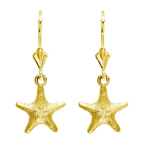 Mini Cushion Sea Star Earrings in 14K Yellow Gold