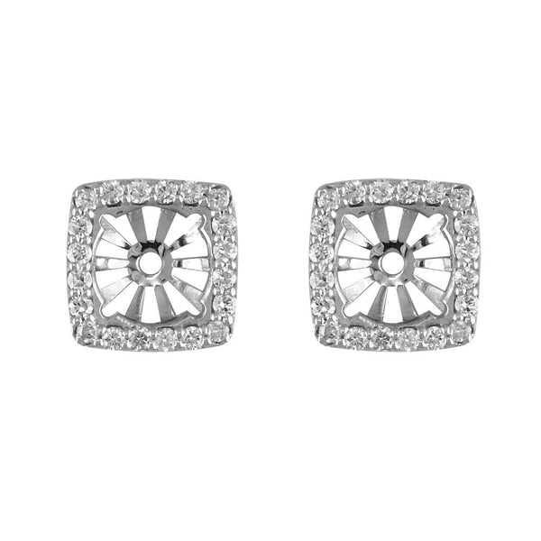 Cushion Diamond Stud Earring Jackets for Round Studs, 11mm in 14k White Gold
