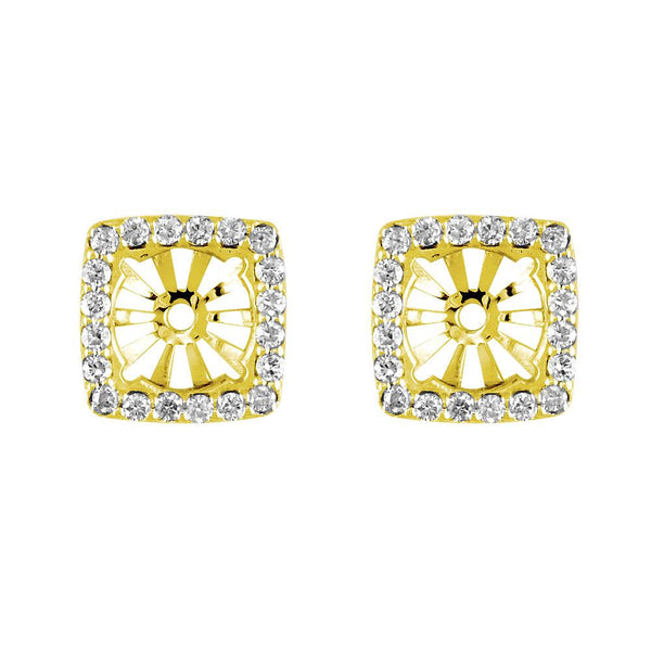 Cushion Diamond Stud Earring Jackets for Round Studs, 11mm in 14k Yellow Gold
