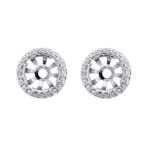 Notched Round Diamond Stud Earring Jackets, 10.5mm in 14k White Gold