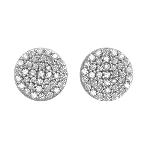 Circle Diamond Cluster Earrings, 11mm in 14k White Gold