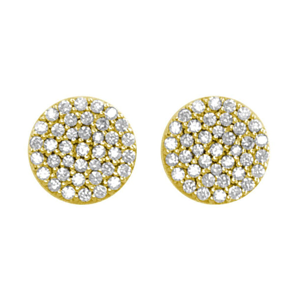 Circle Diamond Cluster Earrings, 11mm in 14k Yellow Gold