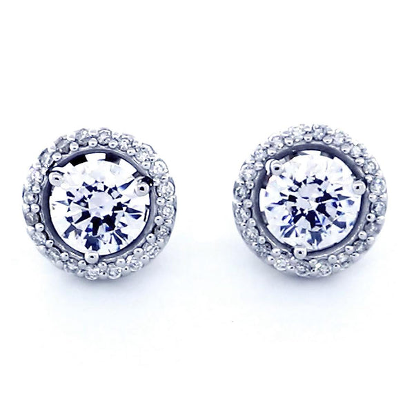 Round Diamond Stud Earring Jackets for 3 Prong Studs, 10.6mm in 14k White Gold