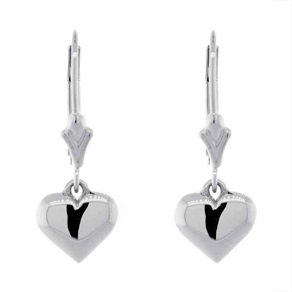 8mm Solid Domed, Puffed Heart Charm Leverback Earrings in 14K White Gold