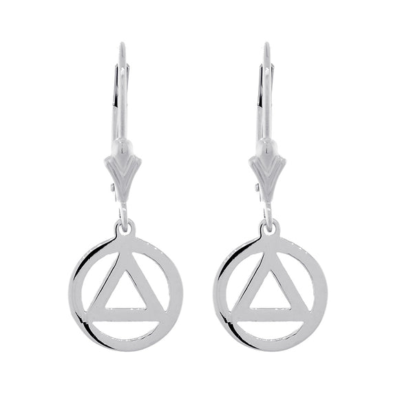 10mm AA Alcoholics Anonymous Sobriety Charm Lever Back Earrings  in Sterling Silver