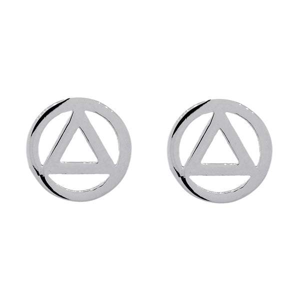 10mm AA Alcoholics Anonymous Sobriety Charm Post Back Earrings  in Sterling Silver