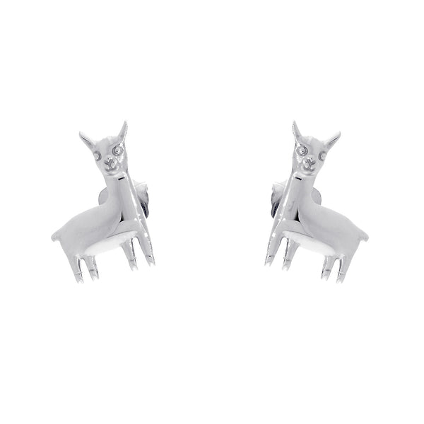 13mm Peru Llama Charm Earrings in 14k White Gold