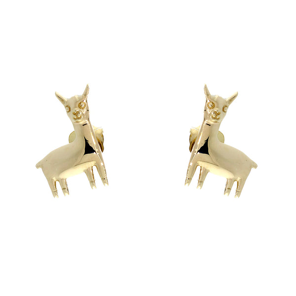 13mm Peru Llama Charm Earrings in 14k Yellow Gold