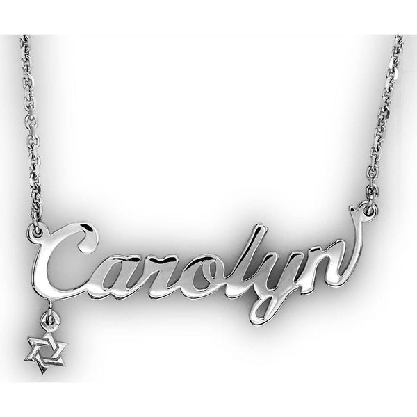 Nameplate Necklace with Star Of David in 14K White Gold