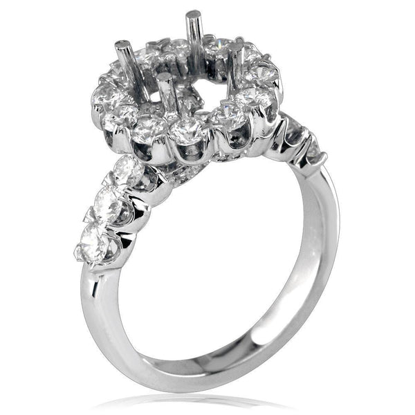 Round Diamond Halo Engagement Ring Setting in 18k White Gold