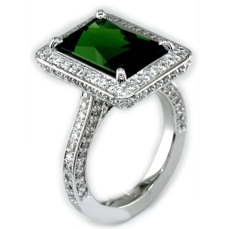 Latitude Deep Green Tourmaline Ring with Diamonds LR-K00048Wgt