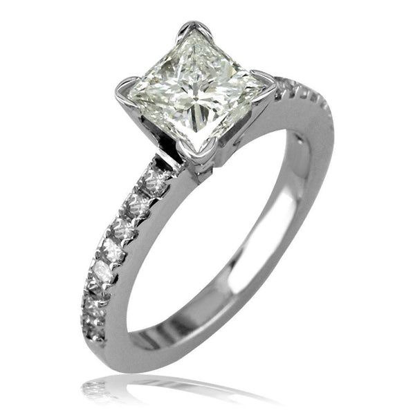 Diamond Engagement Ring Setting with Princess Cut Side Stones E/W-K0005E