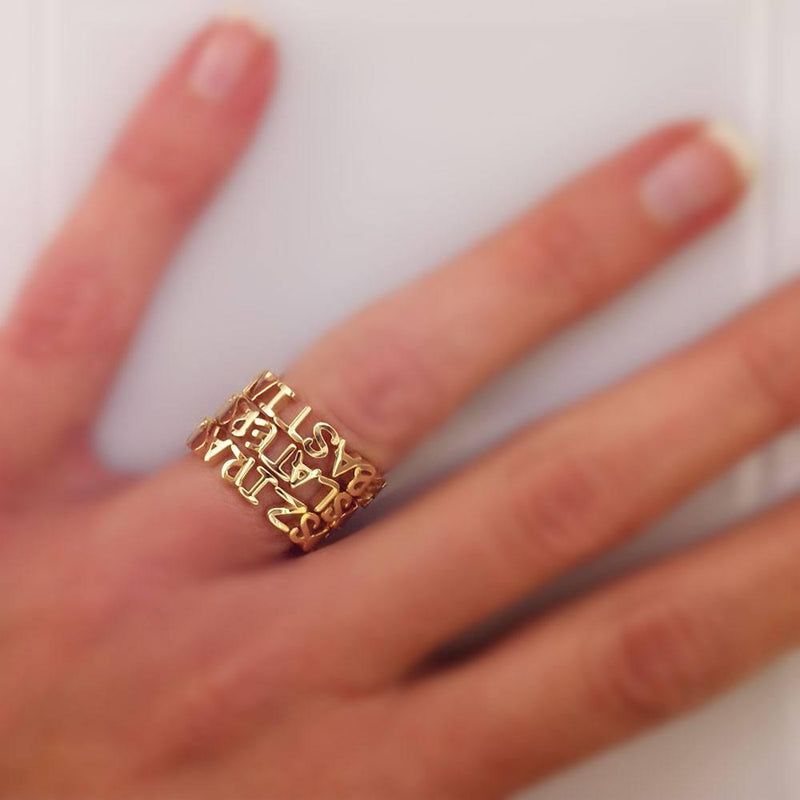 14K Yellow Gold Any Name Stackable Heart Name Ring, 4.4mm Wide