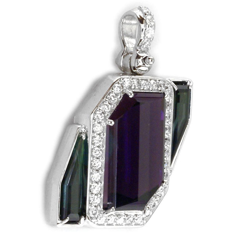 Custom Cut Amethyst and Green Tourmaline Pendant P-K00174W