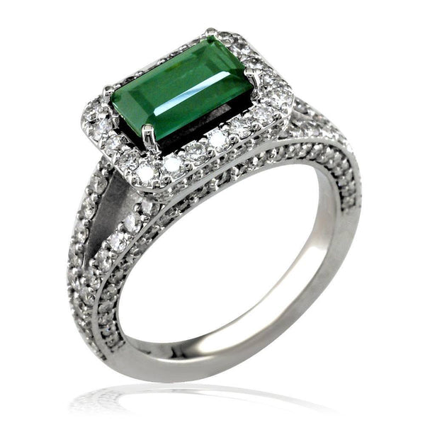 18K White Gold Green Tourmaline and Diamond Ring