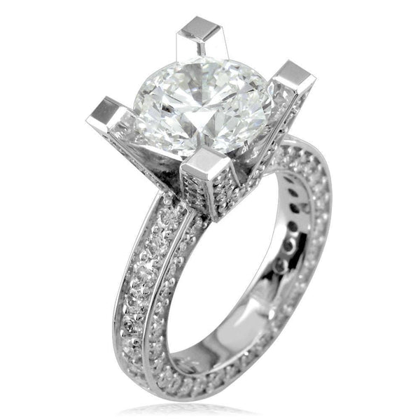 Diamond Engagement Ring Setting with Round Diamond Side Stones E/W-K0020