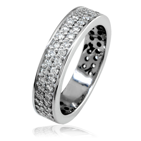 Diamond Band with 2 Rows, 1.15CT in 14k White Gold