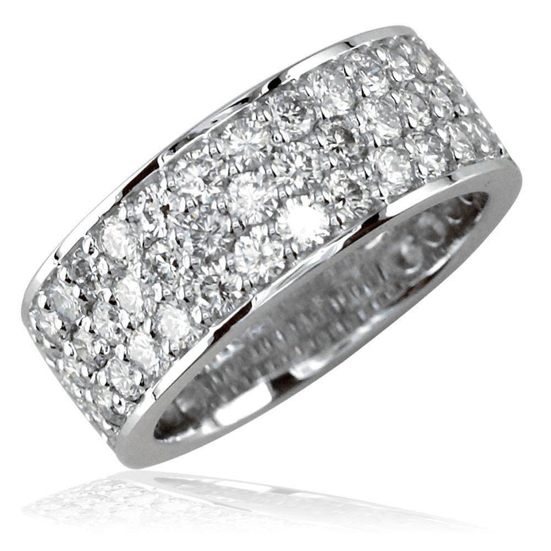 Wide Band with 3 Rows Of Diamonds in 18K Gold, 7.5mm