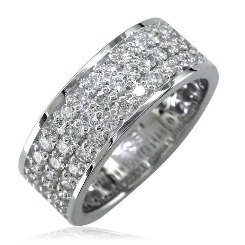 Wide Band with 3 Rows Of Diamonds in 18K Gold, 7mm