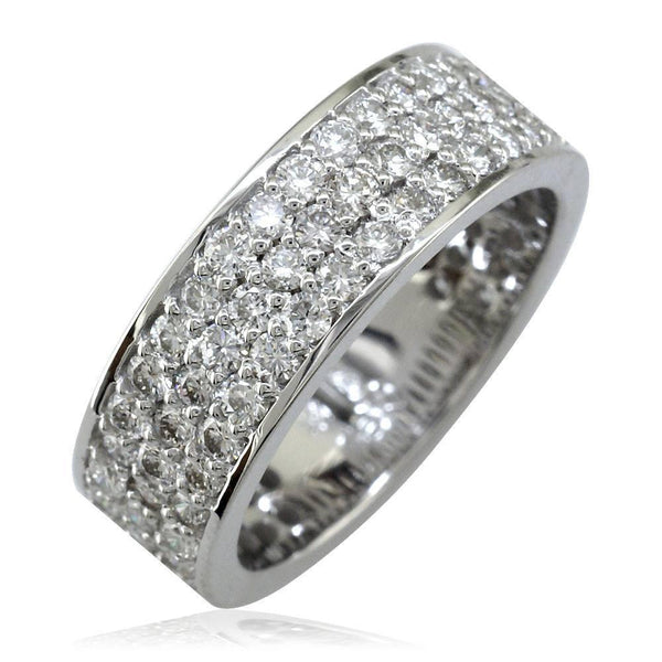 Wide Band with 3 Rows Of Diamonds in 18K White Gold, 6mm