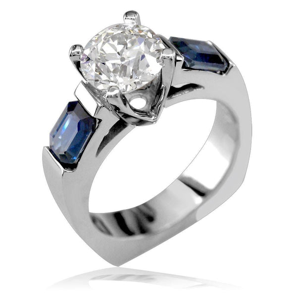 Engagement Ring Setting with Emerald Cut Sapphire Side Stones E/W-K0037