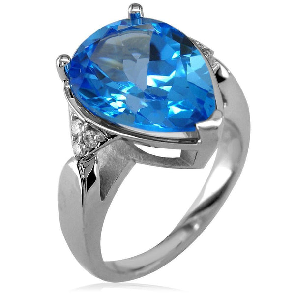 Pear Shaped Blue Topaz and Diamond Ladies Ring in 14K White Gold