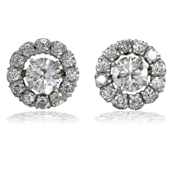 18K White Gold Diamond Halo Earring Jackets, 0.65CT, Diamond Studs Not Included