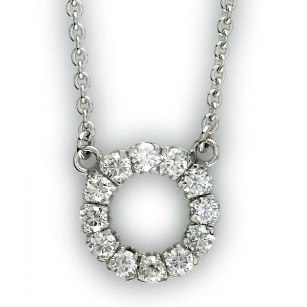 Diamond Circle Pendant with Chain in 18K White Gold, 0.85CT