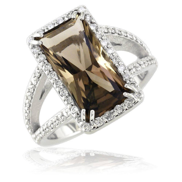 Latitude Smoky Topaz Cocktail Ring in 18K White Gold