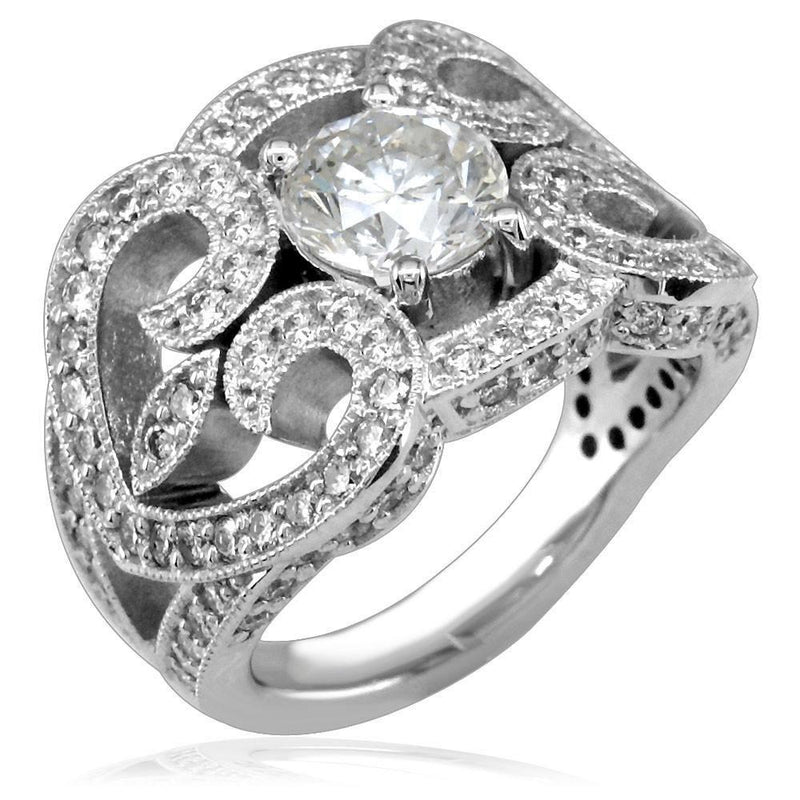 Ladies Vintage Style Diamond Ring Setting with Heart Shapes in 18K