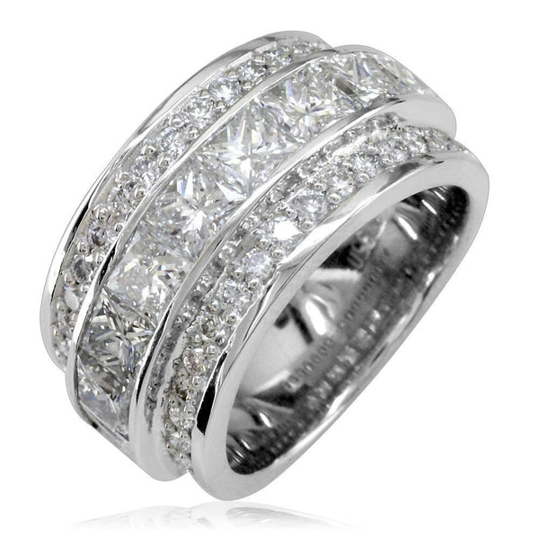 Ladies 3 Row Diamond Ring, Raised Princess Cuts in 18K