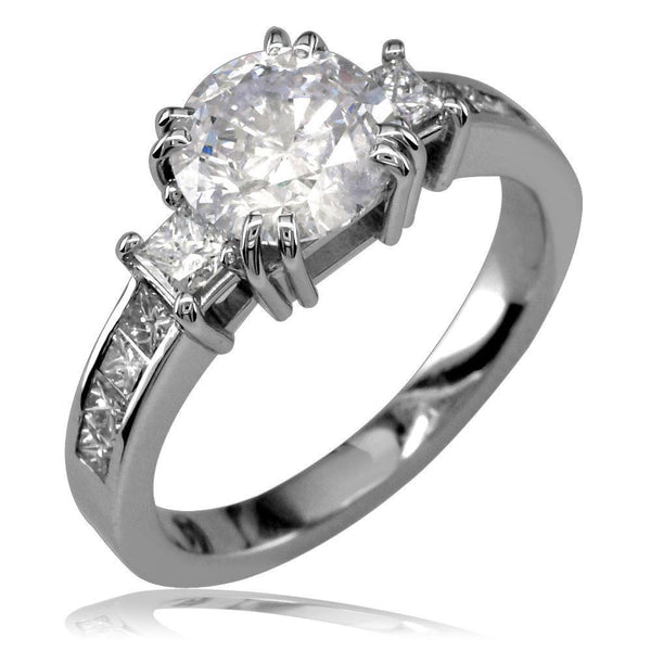3 Stone Diamond Engagement Ring with Princess Cut Sides E/W-K0065