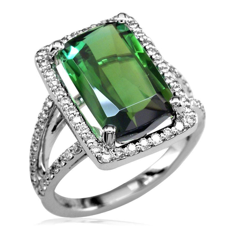 Latitude Large Green Tourmaline in Thin Diamond Ring Setting, 18K