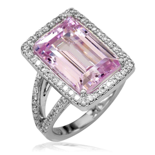 Latitude Large Kunzite and Diamond Ring with Split Shank in 18K