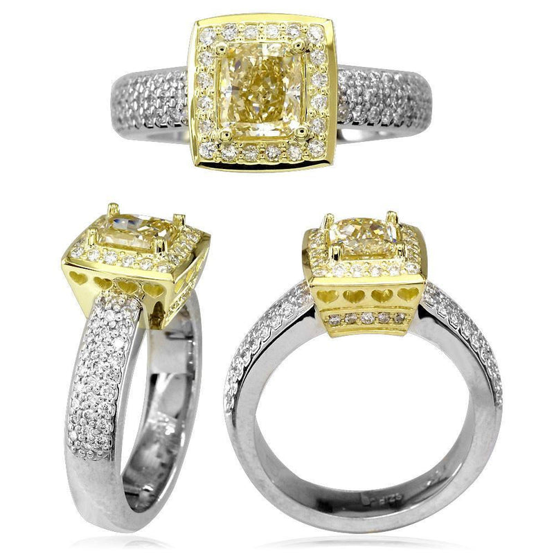 Complete Two-Tone Radiant Cut Diamond Halo Engagement Ring in 18k White and Yellow Gold