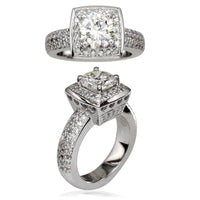 Diamond Halo Engagement Ring Setting with Heart Detail in 14K White Gold, 0.75CT