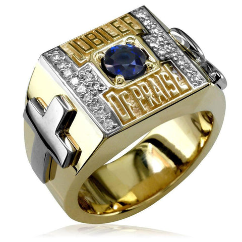 Large Two-Tone and Diamond Class Ring Style Example MR-K0084
