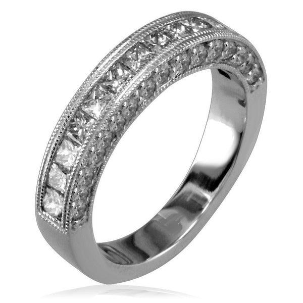Diamond Band with Princess Cuts and Round Sides E/W-K0101