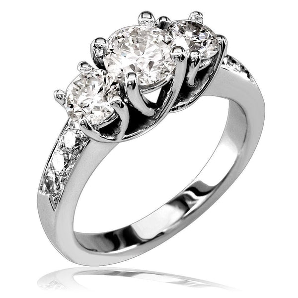 3 Stone Diamond Ring with Braided Settings and Diamond Sides E/W-K0103