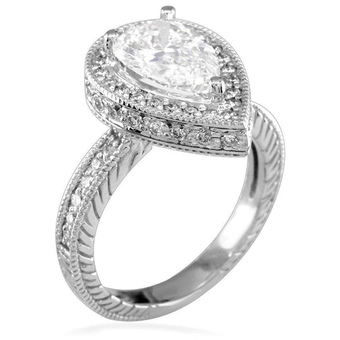 Diamond Pear Shape Ring with Carved Sides E/W-K0111