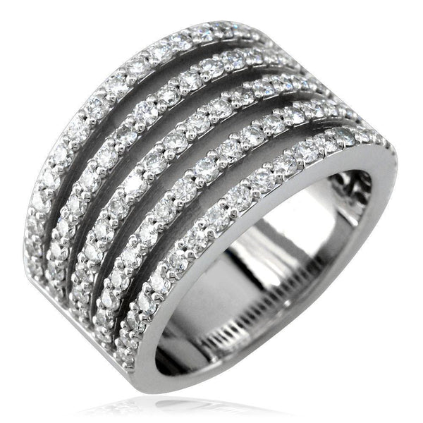 5 Row Diamond Band in 18K, 1.34CT