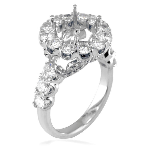 Diamond Halo Engagement Ring Setting, 2.61CT in 18k White Gold