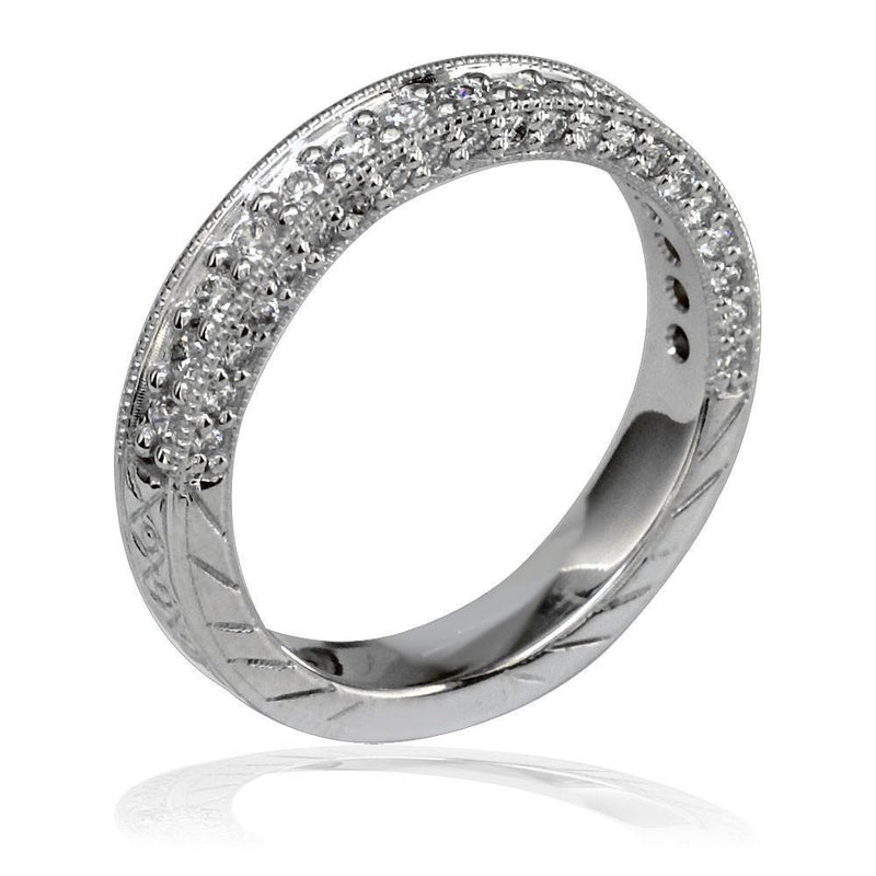 Ladies Round Diamond Band with Etching in 18K, 0.60CT